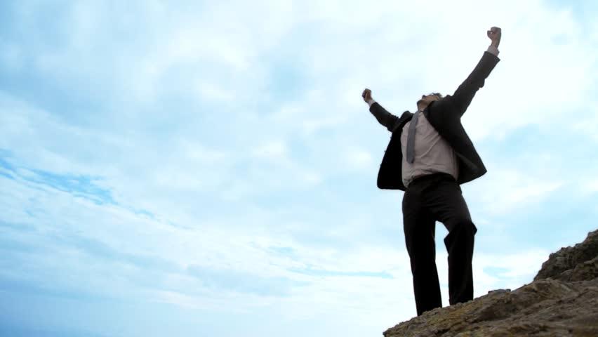 Business Success Happy Businessman Joy Concept Background Hd