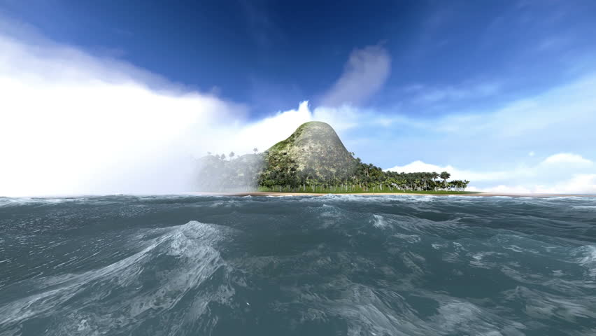 Boat crossing the fog and seeing a beautiful deserted island    Shutterstock HD Video #4068715