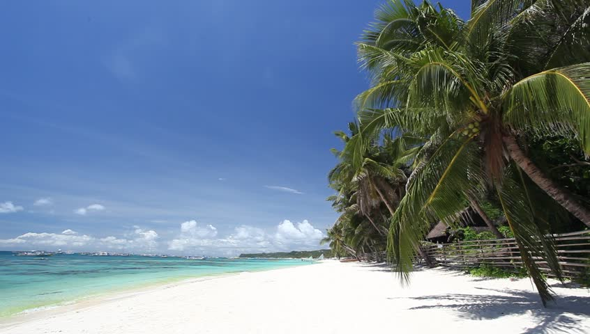 Tropical coastline with white sand and palms, Philippines, Boracay Island  #4078528