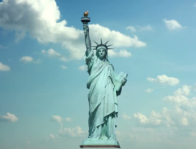 Clouds quickly fly over the Statue liberty 4k video resolution 4096x3112 | Shutterstock HD Video #4081570