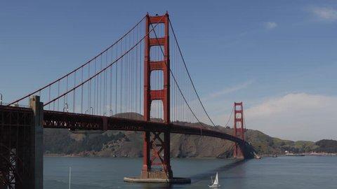 Famous Golden Gate Bridge, San Francisco Bay Skyline, California, Boat Ship Cars Traffic