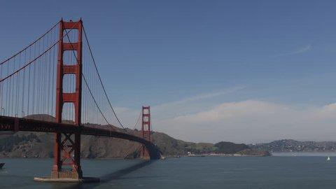 SAN FRANCISCO, USA - APRIL 10, 2013 Cargo Ship Loaded with Containers enter, Golden Gate Bridge, San Francisco Bay Area