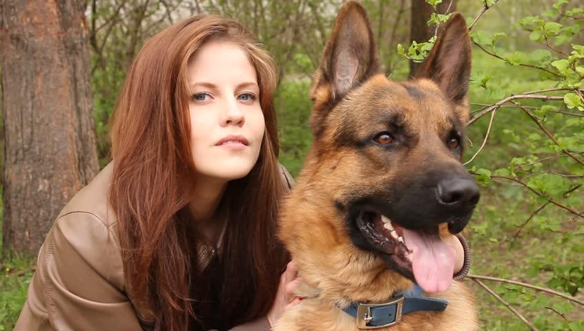 Woman and Shepherd : Video de stock (totalmente libre de regalías ...