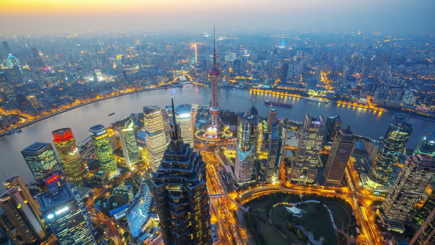 Shanghai at night, time lapse.    Aerial view of high-rise buildings with Huangpu River in Shanghai, China.  - Original Size 4k (4096x2304).    - >>> Please Search Newest Featured Clip: 29544151