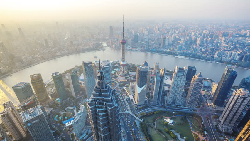 Shanghai from day to night, time lapse.  Aerial view of high-rise buildings with Huangpu River in Shanghai, China. -  >>> Please Search Newest Featured Clip: 1020262945. | Shutterstock HD Video #4128721