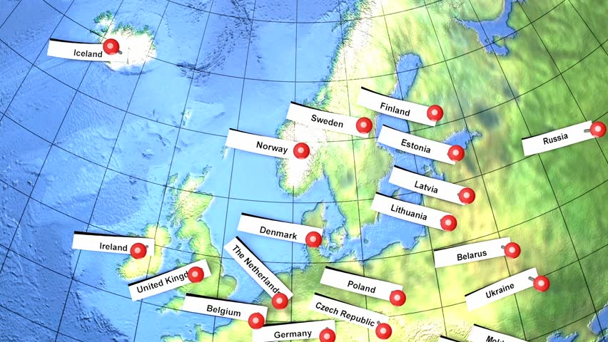 Europe country names pin on globe.