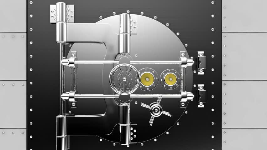 Bank Vault Opens against green screen.