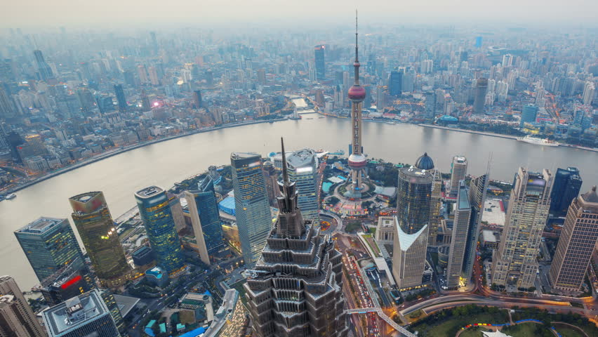 Shanghai From Day to Night, Time Lapse(Pan).  Aerial view of high-rise buildings with Huangpu River in Shanghai, China. - >>> Please Search Newest Featured Clip: 1020262945.  | Shutterstock HD Video #4166956