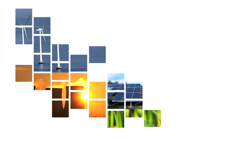 Moving collage of graphics showing renewable energy sources