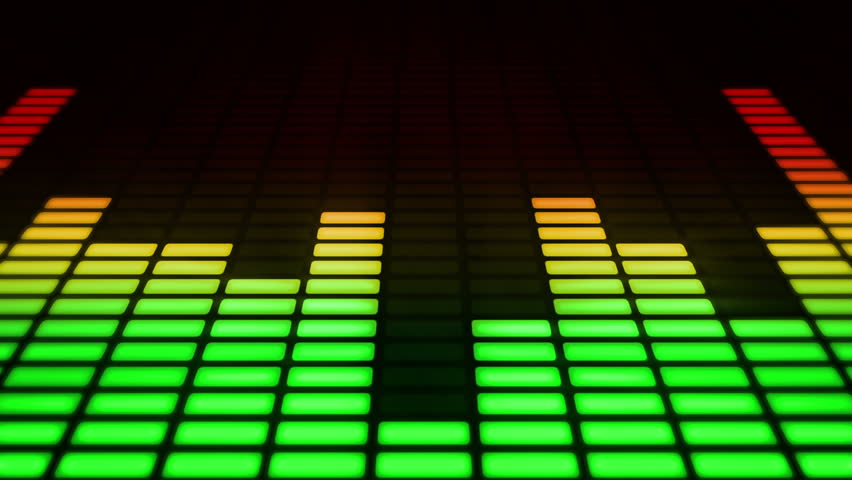 Audio equalizer moving bars. Music control levels. Loopable. Multicolored.