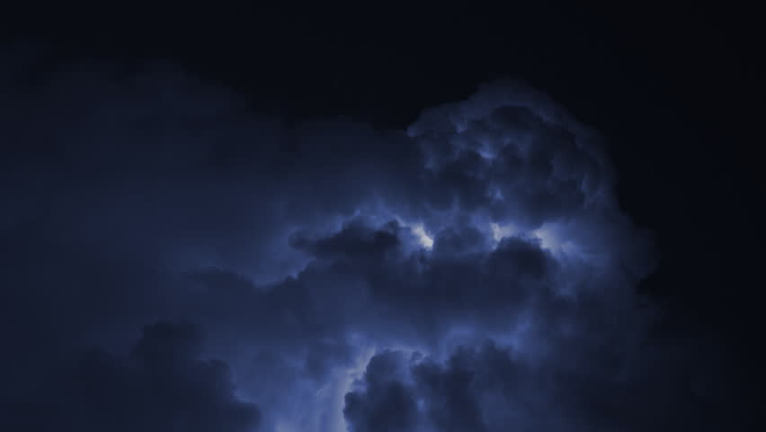 Severe thunderstorm time lapse. Big clouds with strong lightning bolts. Natural disaster concept for global warming. | Shutterstock HD Video #419569