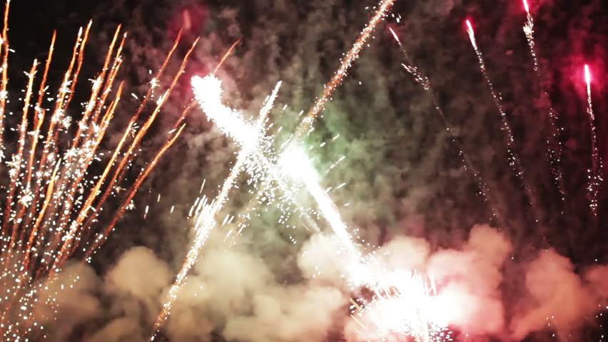 Fireworks, holiday celebration background with sound #4201630