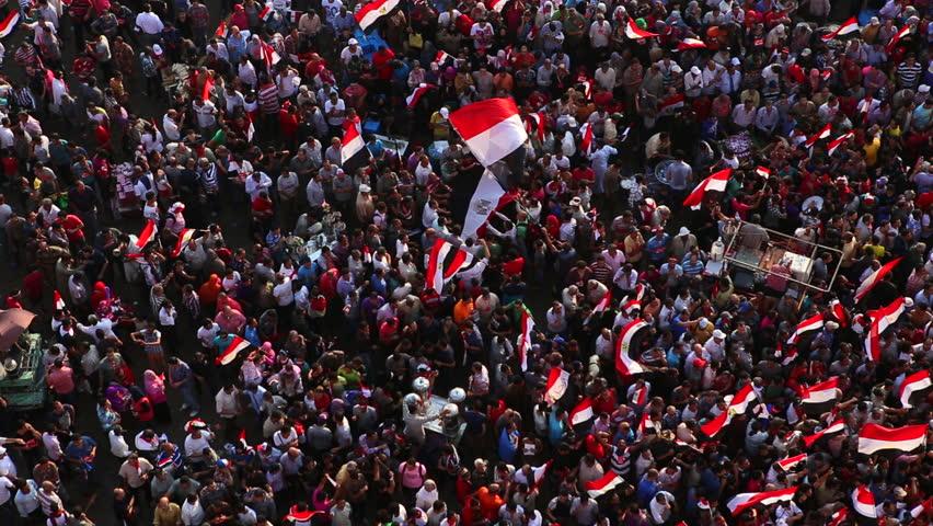 CAIRO, EGYPT - 2013: Overhead view of protestors in Cairo, Egypt
