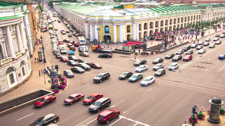 ST.PETERSBURG, RUSSIA - JUN 27: Time-lapse: top view of Metro and mall Gostiny Dvor at intersection of Nevsky Prospekt and the Garden Street, Jun 27, 2013, SPb, Russia. Metro station opened at 1967 | Shutterstock HD Video #4212703