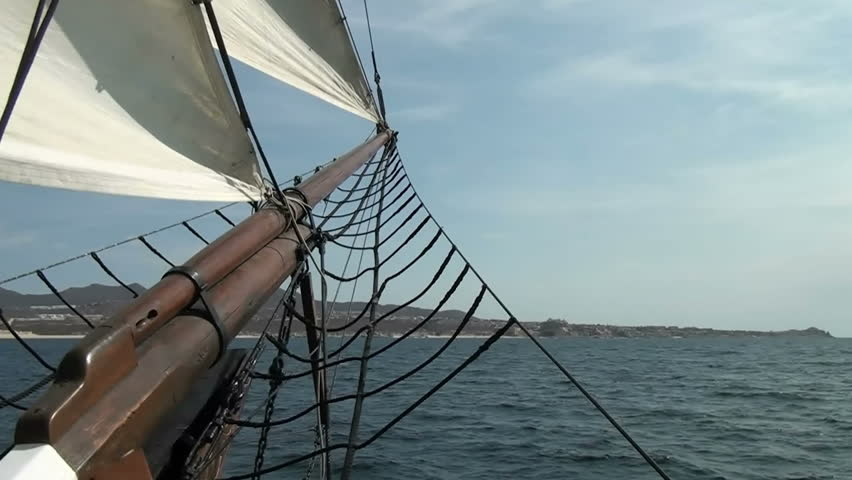 Nautical vessel - Sailboat mast - Part 2  / Nautical vessel - A sailboat mast - Pirate sail ship - Video high definition