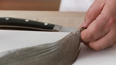 The skin being removed from a sole (first sprinkle salt on the skin to enable a better grip)