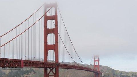 Famous Golden Gate Bridge, San Francisco Bay, California, Boat Ship Cars Traffic