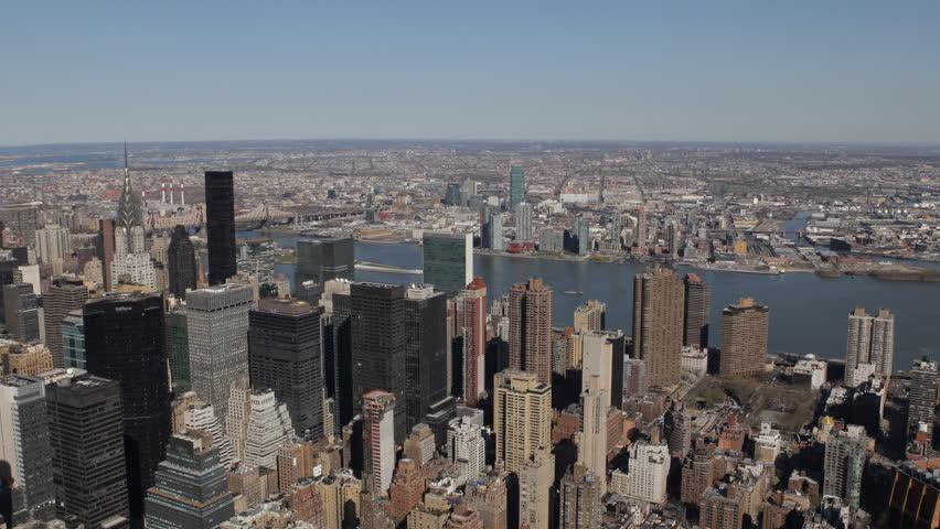 Aerial View New York City Skyline, Midtown Manhattan Skyscrapers Chrysler, Trump aerial view