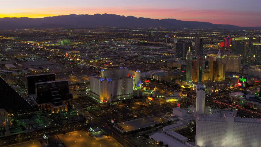 Las Vegas - January 2013: Aerial sunset image of illuminated Las Vegas at dusk Hotels and Casinos, Nevada, USA, RED EPIC