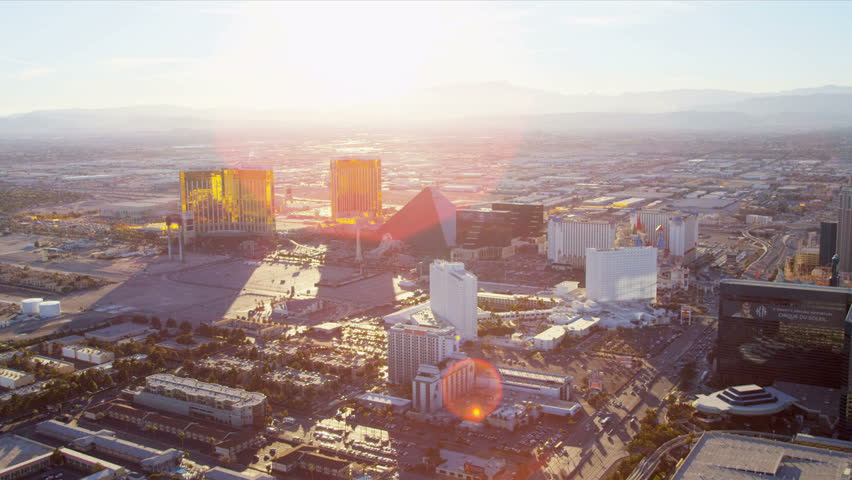 Las Vegas - January 2013: Aerial Hotel and Casino view with sun, flare lens, Las Vegas, Nevada, USA, RED EPIC