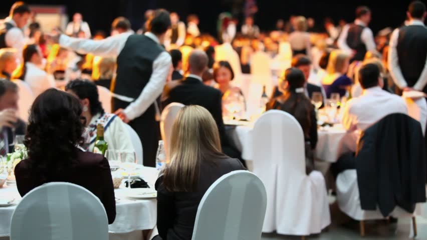 MOSCOW - APR 12: People sit at tables during Ceremony of rewarding of winners of award Brand of year of EFFIE 2011 on April 12, 2012 in Moscow, Russia