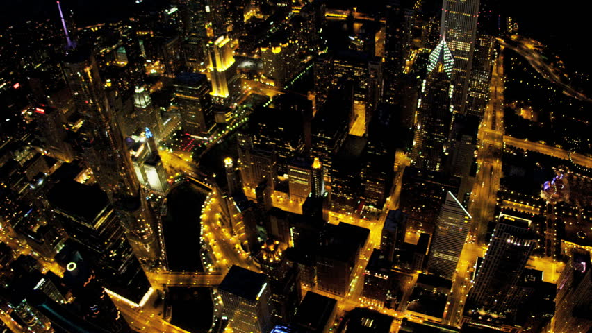 Aerial vertical illuminated night view Chicago River, Trump Tower, downtown skyscrapers Chicago, Illinois, USA, shot on RED EPIC | Shutterstock HD Video #4246655