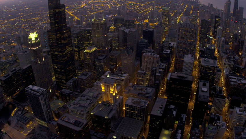 Aerial overhead illuminated night view Sears Tower, avenues of light, downtown Chicago, Illinois, USA, shot on RED EPIC | Shutterstock HD Video #4247021