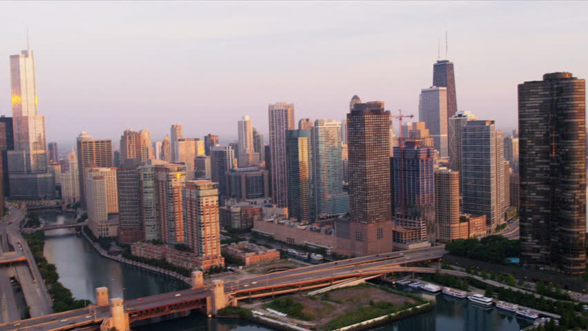 Aerial sunrise view downtown Chicago River skyscrapers, Trump Tower, marina district, Navy Pier, Chicago, Illinois, USA, shot on RED EPIC   Shutterstock HD Video #4249196