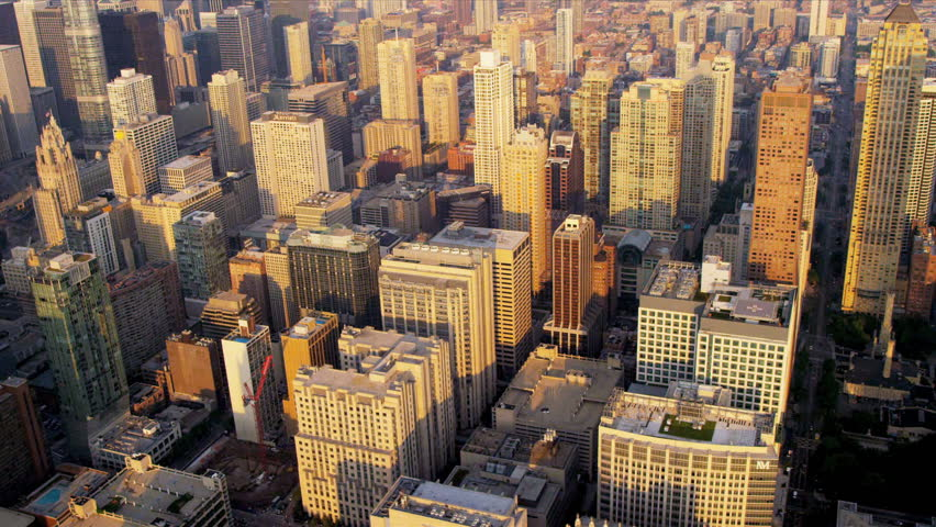 Aerial cityscape sunrise view of popular Chicago buildings downtown Chicago, Illinois, USA, shot on RED EPIC | Shutterstock HD Video #4249454