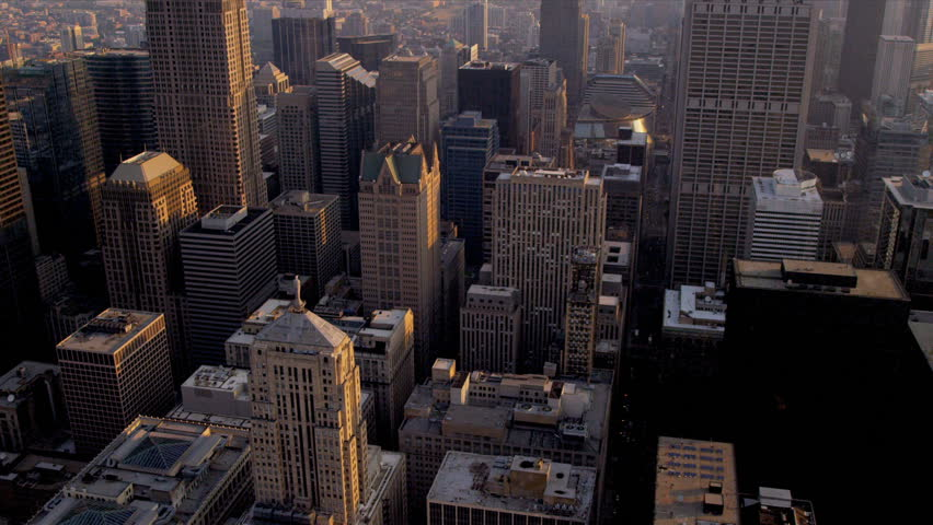 Aerial cityscape view of popular Chicago buildings downtown Chicago, Illinois, USA, shot on RED EPIC | Shutterstock HD Video #4249520
