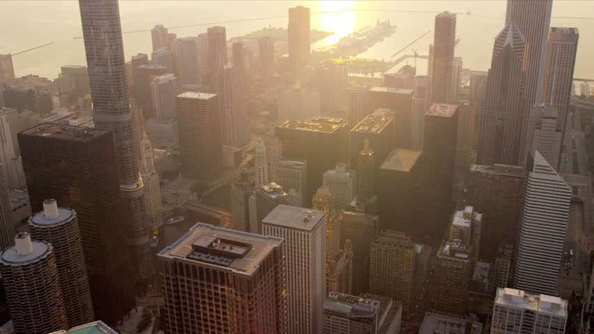 Aerial view city skyscrapers sunrise, Trump Tower and other popular buildings, Chicago, Illinois, USA, shot on RED EPIC #4249586