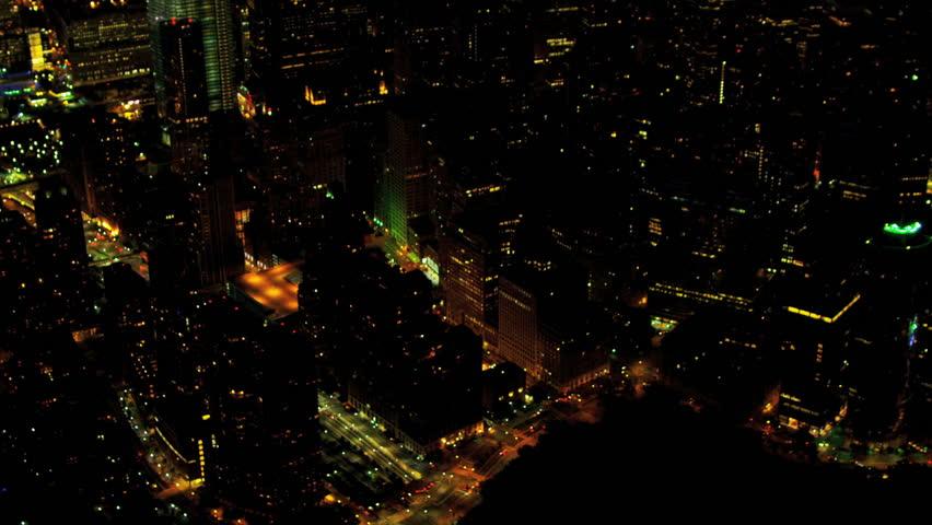 Aerial night illuminated view One World Trade Centre downtown Manhattan Financial District, Manhattan, New York, USA, shot on RED EPIC   Shutterstock HD Video #4249721