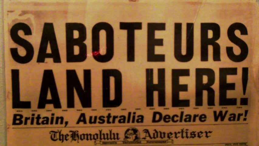 SAN PEDRO/USA, CA: June 13, 2013- Historic World War II era newspaper headline circa 2013 in San Pedro. This clip features an artifact/ historical documentation at the Fort MacArthur Museum. | Shutterstock HD Video #4250528