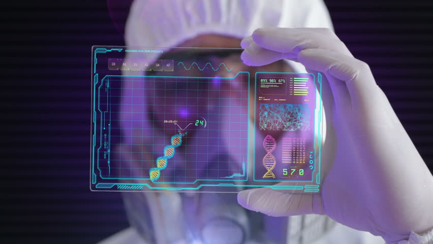 HD 1080 video of a male scientist analyzing structure of a DNA on a tablet in a modern laboratory environment | Shutterstock HD Video #4250936