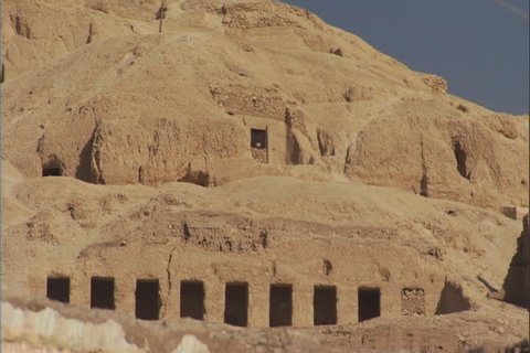Tombs of the Nobles in the mountains above the old village of Gourna in the Valley of the Kings, Egypt.
