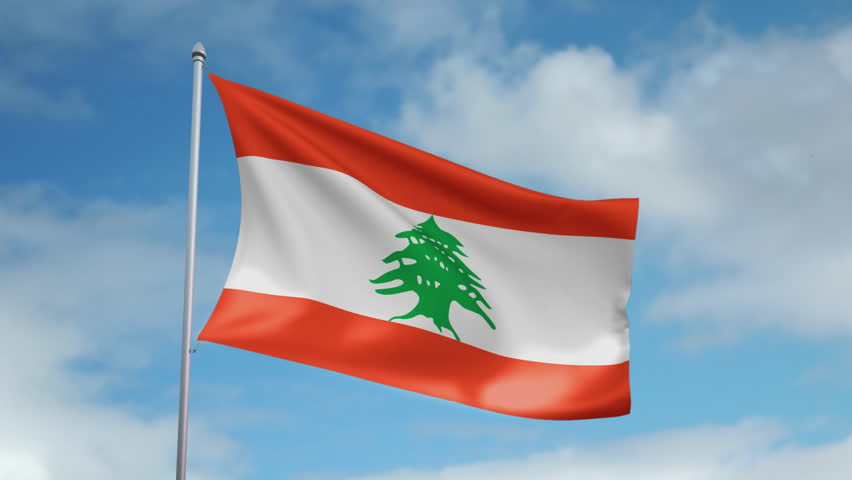 HD 1080p clip with a slow motion waving flag of Lebanon. Seamless, 12 seconds long loop.   | Shutterstock HD Video #425989