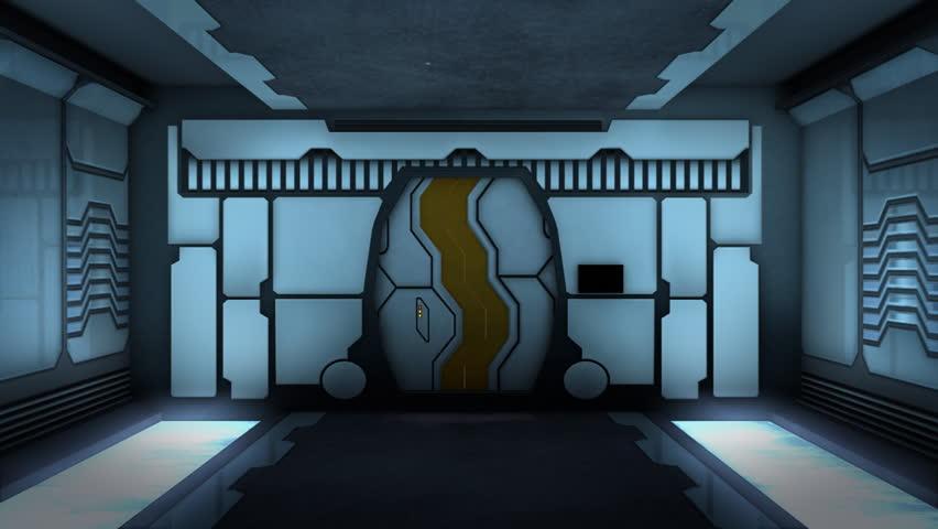 Animation of Futuristic corridor with alpha matte.