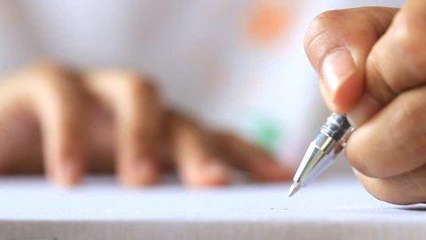 Close up hand drawing.