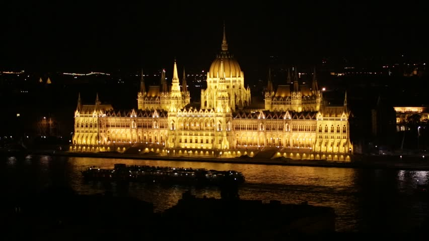 Hungarian Parliament in Budapest by night, Hungary. | Shutterstock HD Video #4308608
