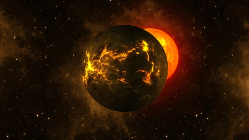 Burned out planet orbited by sun