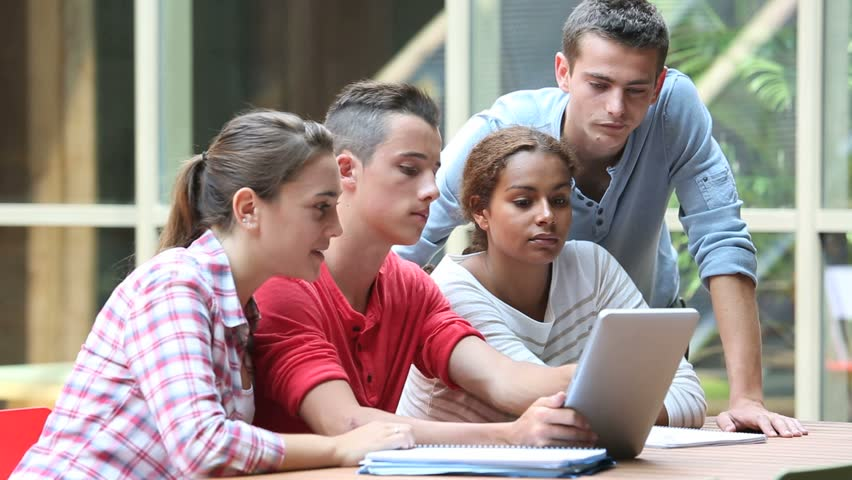 Young people connected on internet in college campus #4326863