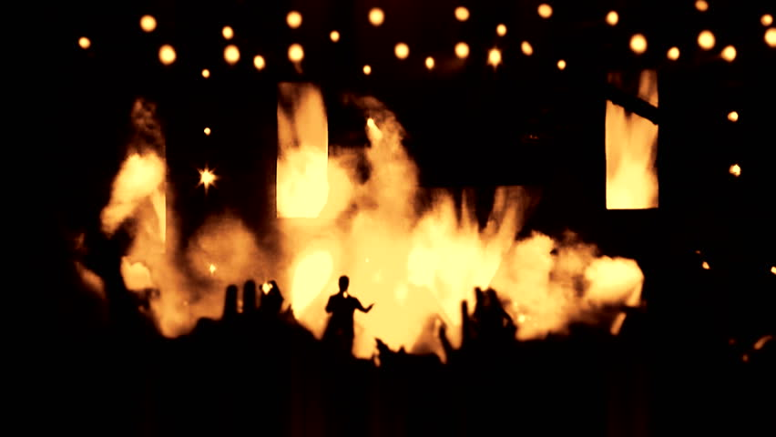 Concert music audience rock performance social people clapping rave party shoulders raising hands heart crowd partying concert arena neon Flood led nights club jumping hall waving silhouettes dance #4327487