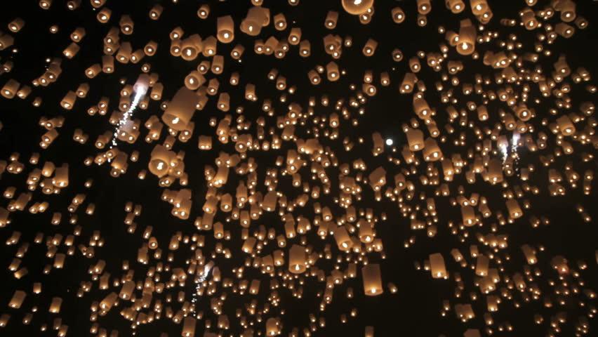 Loi Krathong festival in Chiang Mai Thailand