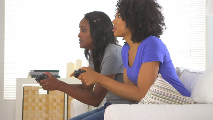 Two African American Friends Playing Stock Footage Video