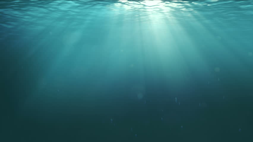 Photorealistic Underwater Scene with Sunrays shining through the water's surface. Used bubbles from Real Shot. Horizontal angle of view (90 degrees). Full HD 1080p