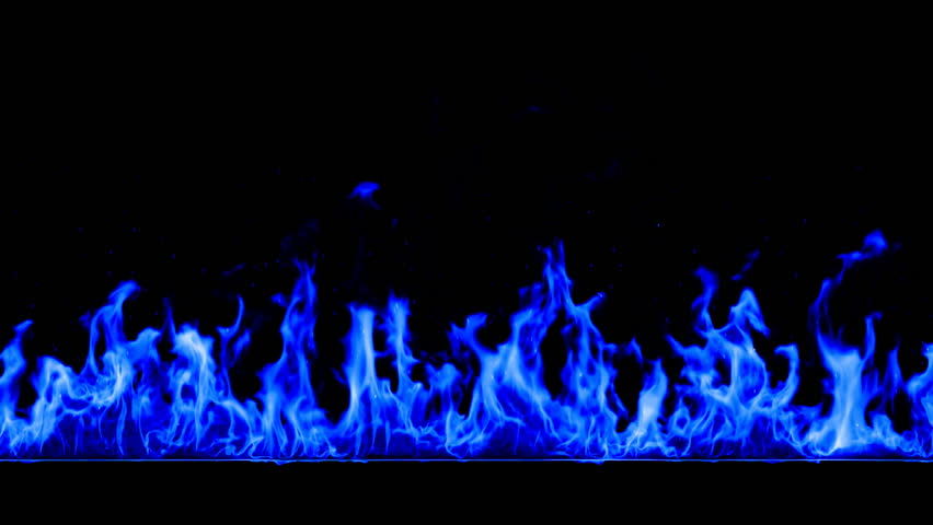 Blue Fire Looped. HD 1080. Alpha mask.