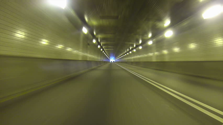 Low-angle perspective of exiting the Fort Pitt Tunnels in Pittsburgh,