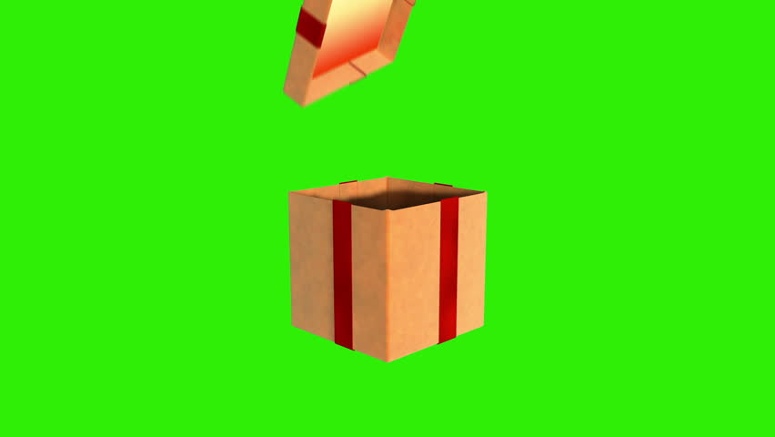 Gift box opening lid to present a virtual product, Green Screen