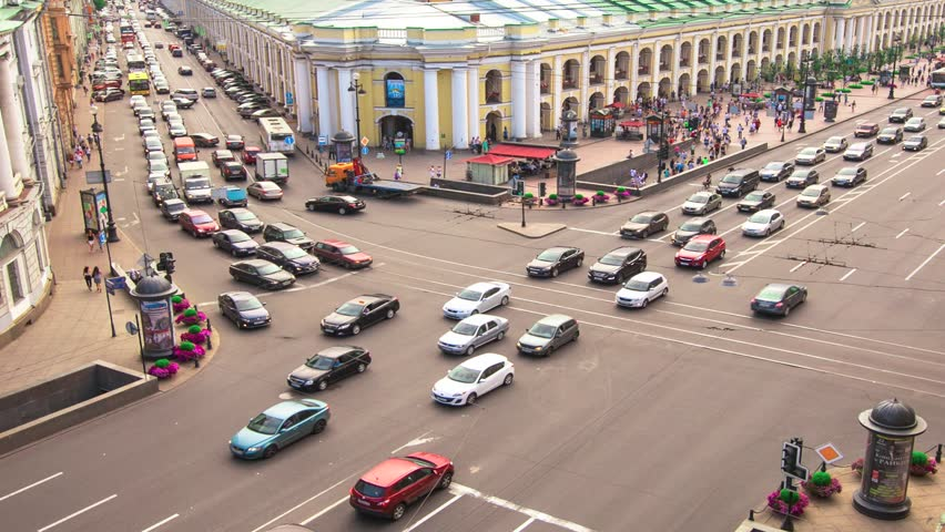 Crossroads in St. Petersburg center, Russia (timelapse)