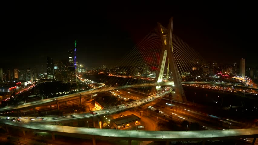 The Octavio Frias de Oliveira bridge or Ponte Estaiada cable stayed suspension bridge built over the Pinheiros River in the city of Sao Paulo, Brazil  | Shutterstock HD Video #4384817
